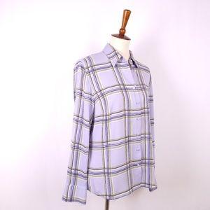 Talbots Silk Lavender Plaid Blouse Size 14